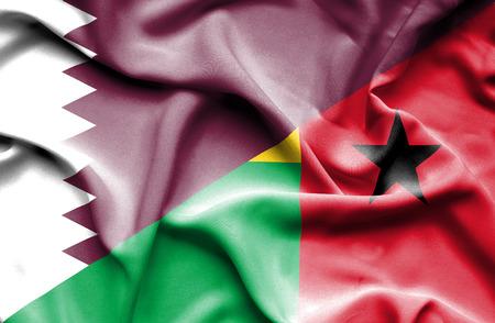 guinea bissau: Waving flag of Guinea Bissau and Qatar