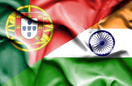 portugese: Waving flag of India and