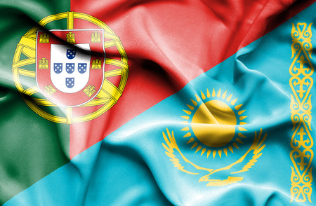 kazakhstan: Waving flag of Kazakhstan and