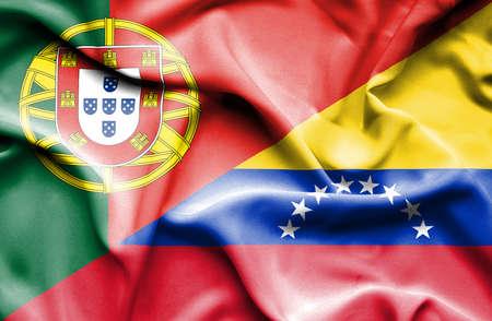 venezuela: Waving flag of Venezuela and Stock Photo