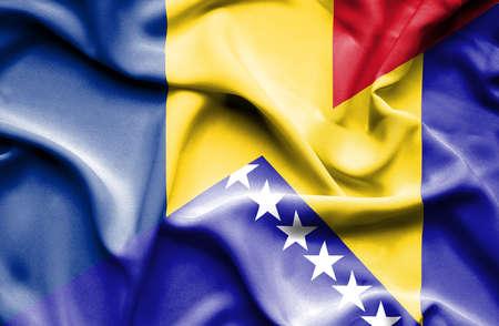 bosnia and herzegovina flag: Waving flag of Bosnia and Herzegovina and Romania Stock Photo