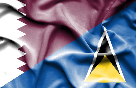 st lucia: Waving flag of St Lucia and Qatar