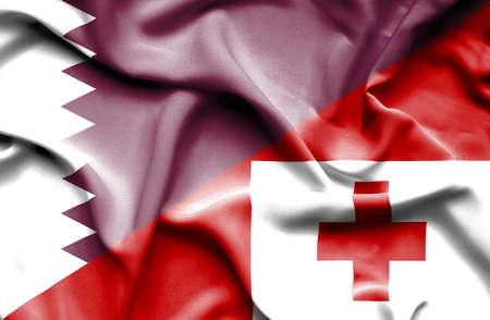 tonga: Waving flag of Tonga and Qatar