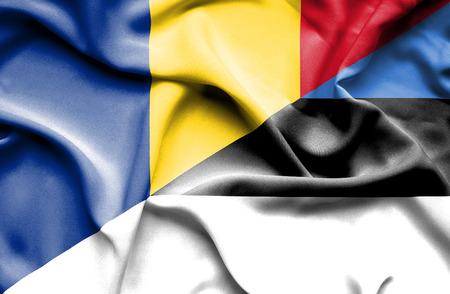 estonia: Waving flag of Estonia and Romania Stock Photo