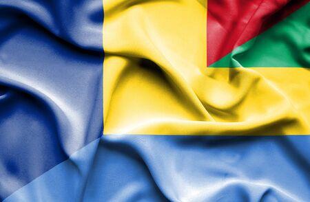 gabon: Waving flag of Gabon and Romania