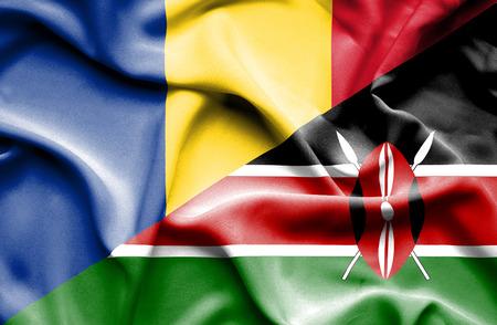 kenya: Waving flag of Kenya and Romania Stock Photo