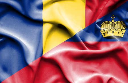 lichtenstein: Waving flag of Lichtenstein and Romania