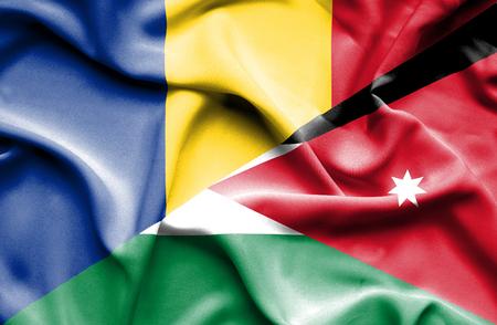 jordan: Waving flag of Jordan and Romania Stock Photo