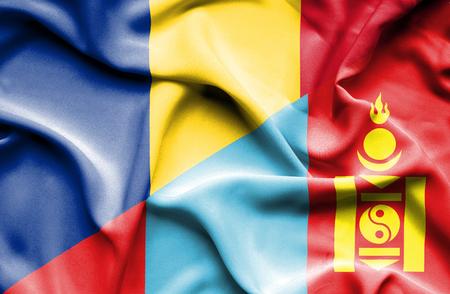 mongolia: Waving flag of Mongolia and Romania