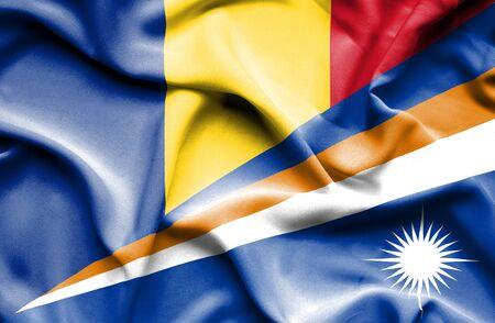 marshall: Waving flag of Marshall Islands and Romania Stock Photo