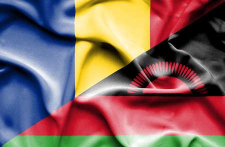 malawian flag: Waving flag of Malawi and Romania