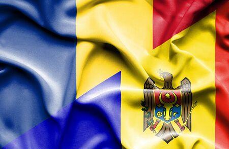 moldavia: Waving flag of Moldavia and Romania Stock Photo
