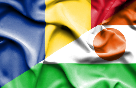 niger: Waving flag of Niger and Romania