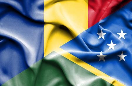 solomon: Waving flag of Solomon Islands and Romania
