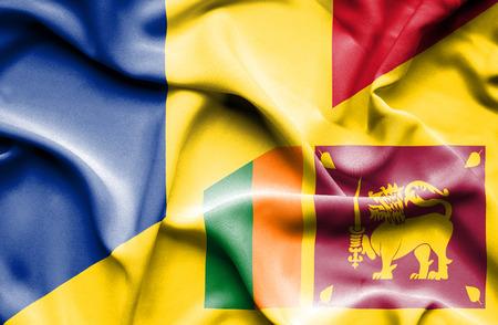 sri: Waving flag of Sri Lanka and Romania Stock Photo
