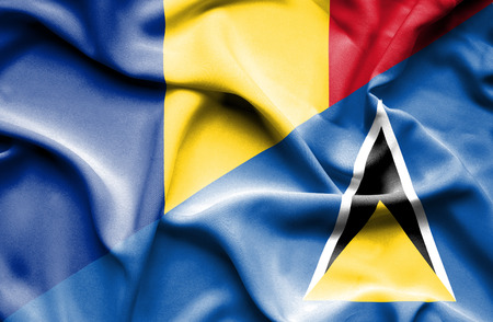 st lucia: Waving flag of St Lucia and Romania