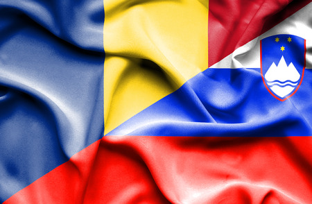 slovenia: Waving flag of Slovenia and Romania