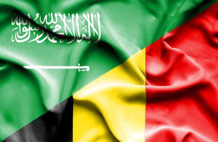 arabia: Waving flag of Belgium and Saudi Arabia