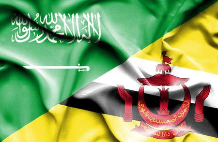 saudi arabia: Waving flag of Brunei and Saudi Arabia