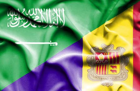 andorra: Waving flag of Andorra and Saudi Arabia