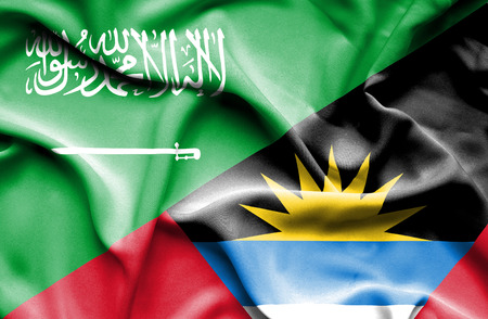 antigua: Waving flag of Antigua and Barbuda and Saudi Arabia