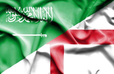 arabia: Waving flag of England and Saudi Arabia