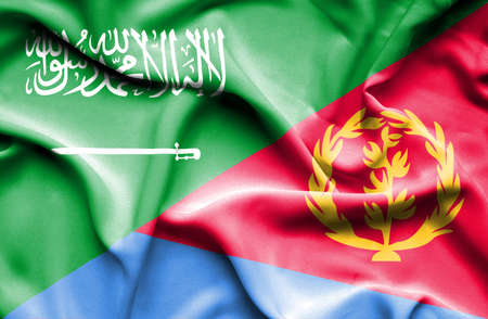 saudi: Waving flag of Eritrea and Saudi Arabia