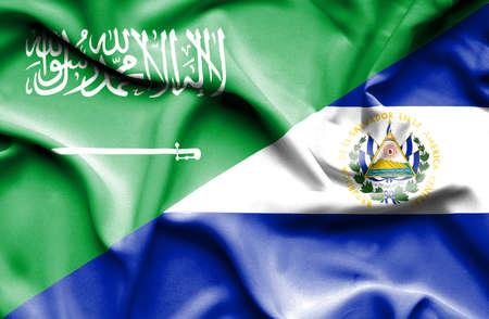 saudi arabia: Waving flag of El Salvadorand Saudi Arabia