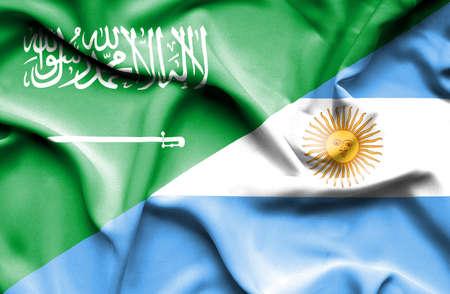 saudi arabia: Waving flag of Argentina and Saudi Arabia