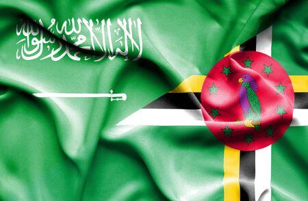 saudi arabia: Waving flag of Dominica and Saudi Arabia