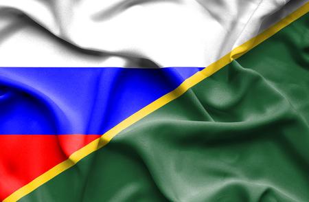 solomon: Waving flag of Solomon Islands and Russia