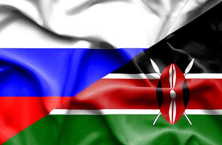 kenya: Waving flag of Kenya and Russia Stock Photo