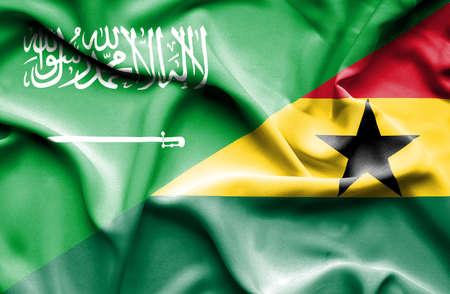 saudi: Waving flag of Ghana and Saudi Arabia