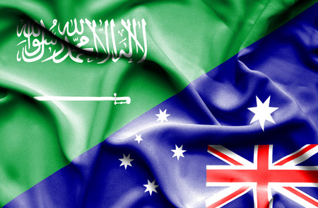 saudi arabia: Waving flag of Australia and Saudi Arabia Stock Photo