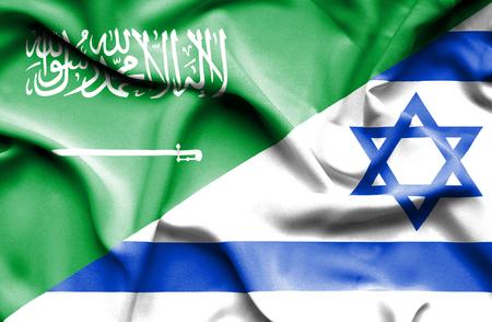 Waving flag of Israel and Saudi Arabia Stock Photo