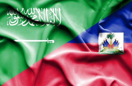 arabia: Waving flag of Haiti and Saudi Arabia