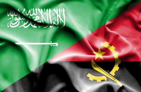 angola: Waving flag of Angola and Saudi Arabia