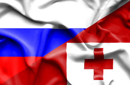tonga: Waving flag of Tonga and Russia