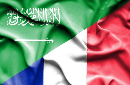 saudi arabia: Waving flag of France and Saudi Arabia