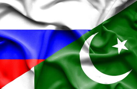 flag of pakistan: Waving flag of Pakistan and Russia