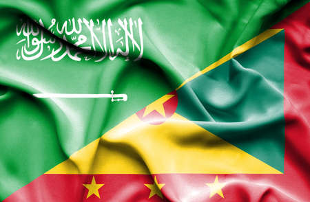 guernsey: Waving flag of Guernsey and Saudi Arabia Stock Photo