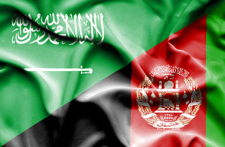 saudi arabia: Waving flag of Afghanistan and Saudi Arabia Stock Photo
