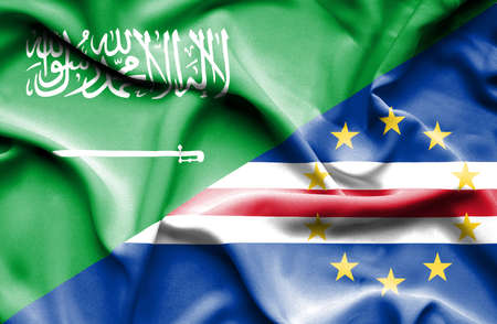 cape verde: Waving flag of Cape Verde and Saudi Arabia Stock Photo