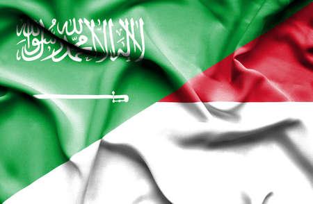 saudi arabia: Waving flag of Monaco and Saudi Arabia