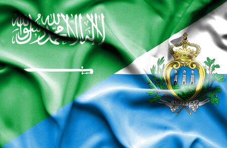 san marino: Waving flag of San Marino and Saudi Arabia