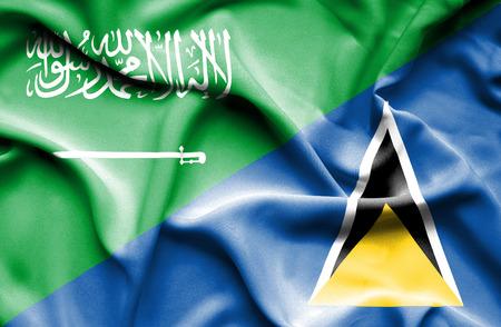 st lucia: Waving flag of St Lucia and Saudi Arabia