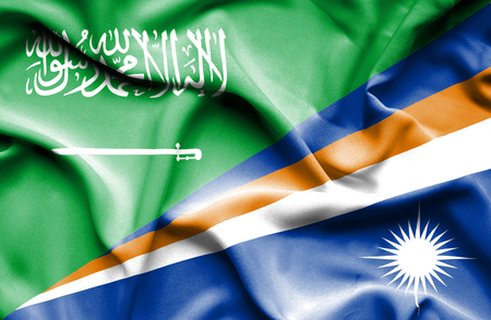 marshall: Waving flag of Marshall Islands and Saudi Arabia