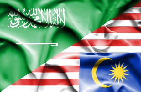 flag background: Waving flag of Malaysia and Saudi Arabia
