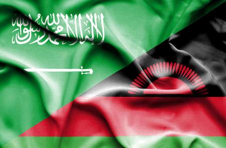 saudi arabia: Waving flag of Malawi and Saudi Arabia