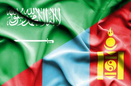 saudi: Waving flag of Mongolia and Saudi Arabia